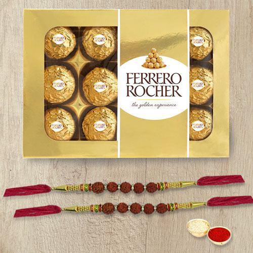 Divine Rudraksha Rakhi with Ferrero Rocher