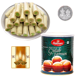 Kaju Pista Roll, Gulab Jamun with Silver Plated Coin