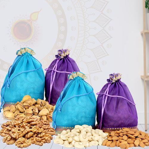 Finest Dry Fruits Potli with Laxmi Ganesh Idol<br>