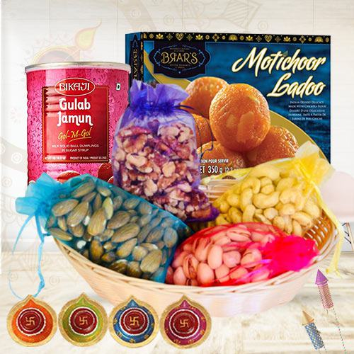 Assorted Dry Fruits Collection with Motichoor Laddo N Diya