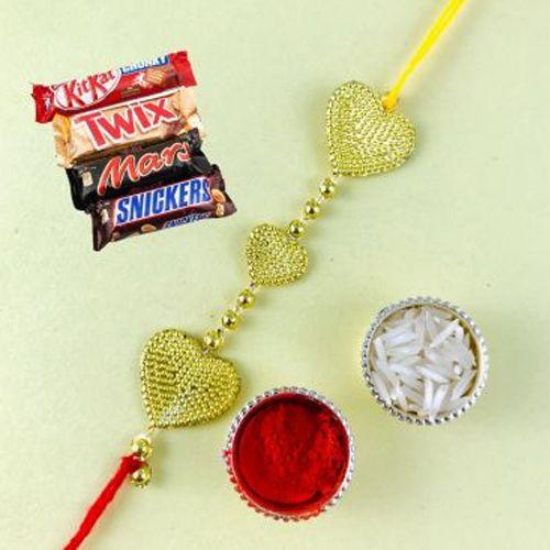 Gorgeous Triple Heart Rakhi and KitKat Chocolate