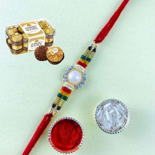 Stone Rakhi with Ferrero Rocher