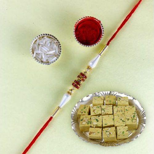 Exclusive Raksha-bandhan Gift of Rakhi with Soan Papdi