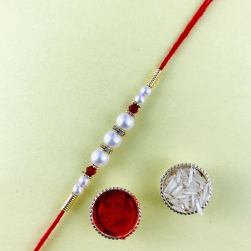 Lovely Gift of Decorative Pearl Rakhi