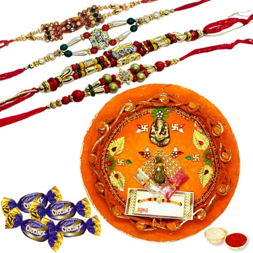 Breathtaking Rakhi Thali with Rakhi and Chocolates <br /><font color=#0000FF>Free Delivery in USA</font>