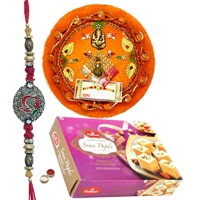 Attractive Rakhi with Thali and Haldirams Soan Papdi 250 Gms.