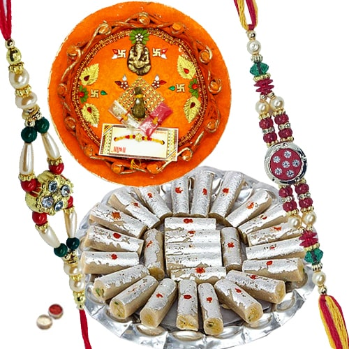 Rakhi Thali with Rakhis, Kaju Pista Roll and Roli Tikka<br><font color=#0000FF>Free Delivery in USA</font>