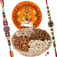 Rakhi Thali with Rakhis and Dry Fruits, Roli Tikka <br><font color=#0000FF>Free Delivery in USA</font>