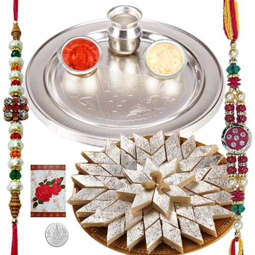 Rakhi Thali with Rakhis, Kaju Katli and Roli Tikka<br><font color=#0000FF>Free Delivery in USA</font>