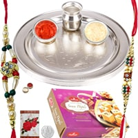 Dazzling Thali with Rakhi and 250 Gms. Haldiram Soan Papadi<br /><font color=#0000FF>Free Delivery in USA</font>