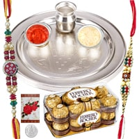 Amazing 2 Rakhis and 12 Ferrero Rocher with 5 Inch. Silver Thali