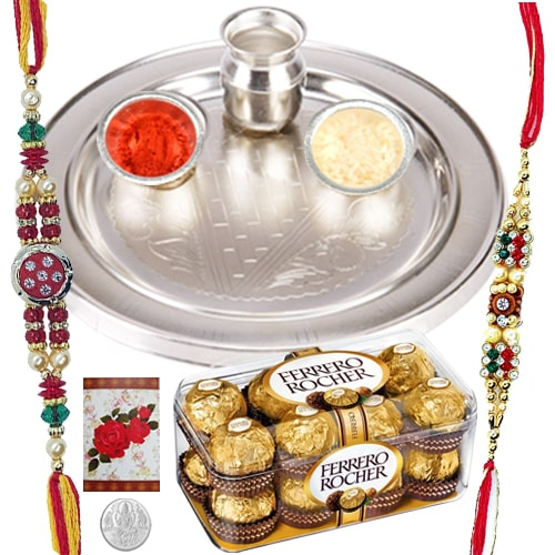 Amazing 2 Rakhis and 12 Ferrero Rocher with 5 Inch. Silver Thali<br /><font color=#0000FF>Free Delivery in USA</font>