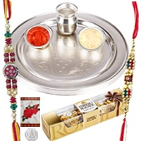 Auspicious 2 Rakhis with Thali, Free 5 Gm. Silver Coin and 3 Ferrero Rocher