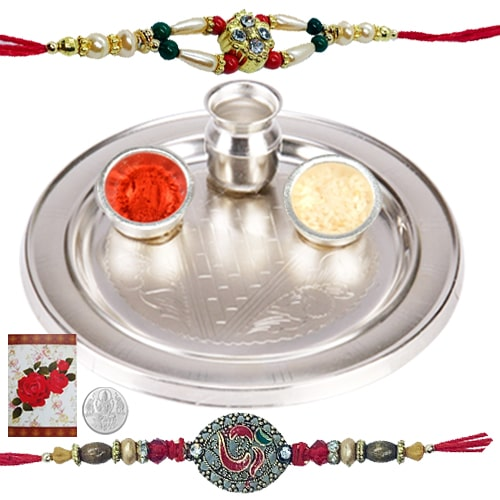 Rakhi Thali with Rakhis Hamper<br><font color=#0000FF>Free Delivery in USA</font>