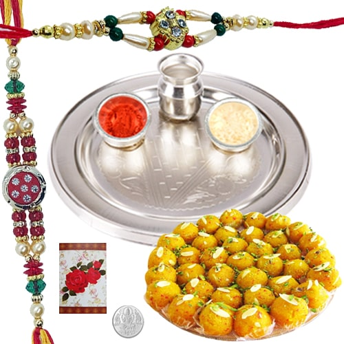 Dazzling 2 Rakhis and 5 Inch. Silver Thali with Savory Sweets<br /><font color=#0000FF>Free Delivery in USA</font>
