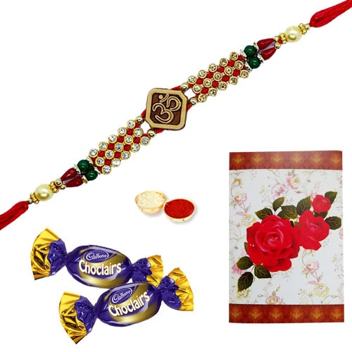 Delicious Chocolates with One or More Om Ethnic Rakhi<br /><font color=#0000FF>Free Delivery in USA</font>
