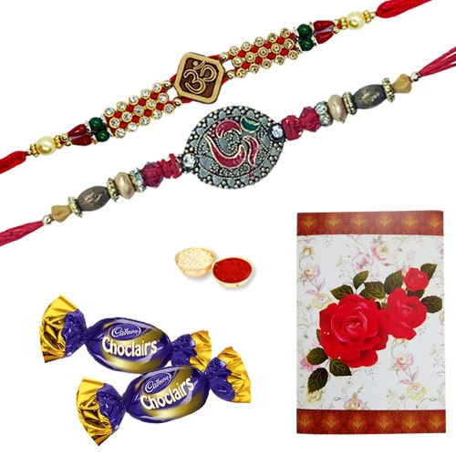 Elegant 2 or More Om Ethnic Rakhi with Chocolates<br /><font color=#0000FF>Free Delivery in USA</font>