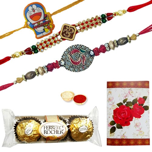 Delicious 3 Pcs. Ferrero Rocher Chocolates with 2 Designer Ethnic Rakhi and 1 Kids Rakhi<br /><font color=#0000FF>Free Delivery in USA</font>
