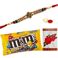 One or More Designer Ethnic Rakhi with famous M&M Chocolates ( 57 Gms.) Bag .<br /><font color=#0000FF>Free Delivery in USA</font>