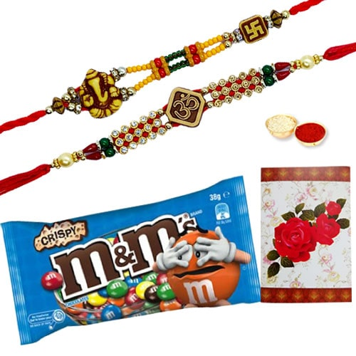 Mesmerizing Rakhi and Chocolates with Blessings<br /><font color=#0000FF>Free Delivery in USA</font>