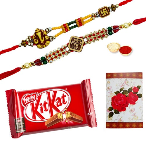Auspicious 2 or More Rakhi and Chocolates with Blessings<br /><font color=#0000FF>Free Delivery in USA</font>