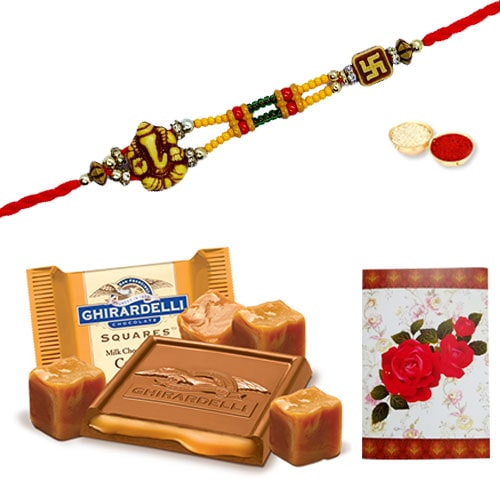 Auspicious One or More Designer Ethnic Rakhi and Gift with Love<br /><font color=#0000FF>Free Delivery in USA</font>