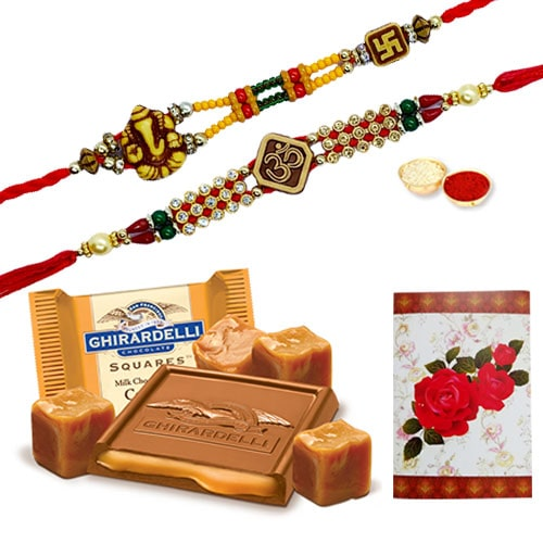 Classy Rakhi with famous Ghiradelli Chocolates<br /><font color=#0000FF>Free Delivery in USA</font>