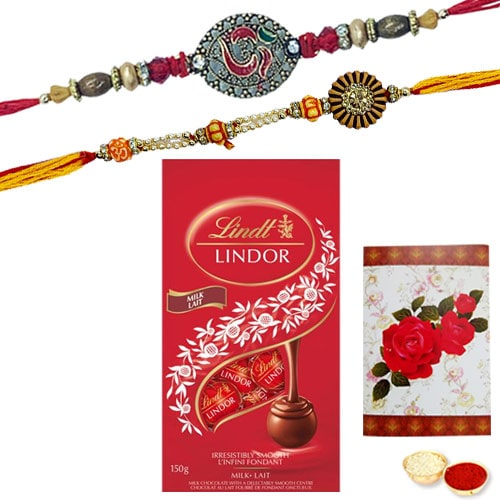 Fabulous Rakhi and Chocolate filled with Happiness<br /><font color=#0000FF>Free Delivery in USA</font>