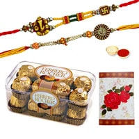 Auspicious 2 or more Designer Ethnic Rakhi with 12 Pcs. Ferrero Chocolates Box<br /><font color=#0000FF>Free Delivery in USA</font>