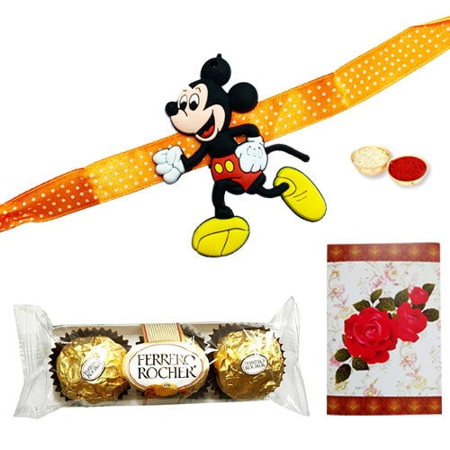 Delectable 3 Ferrero Rocher Chocolates with Kids Rakhi<br /><font color=#0000FF>Free Delivery in USA</font>