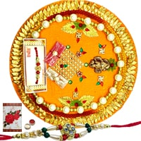 Rakhi Thali with One or More Rakhi Options<br /><font color=#0000FF>Free Delivery in USA</font>