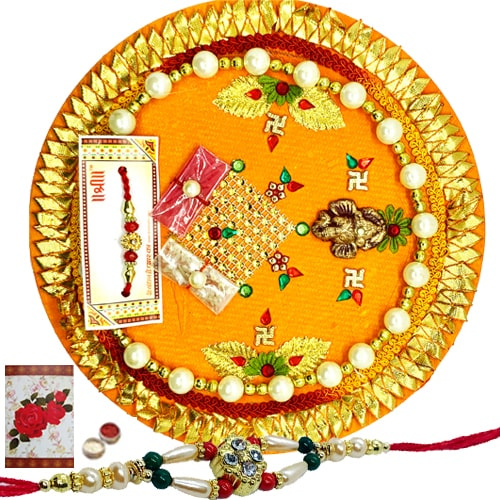 Glamorous Rakhi and Handcrafted Card with Decorative Thali<br /><font color=#0000FF>Free Delivery in USA</font>