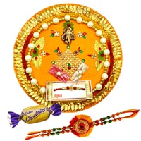 Rakhi Thali with One or More Rakhi Options with Chocolates<br /><font color=#0000FF>Free Delivery in USA</font>