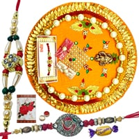 Outstanding Thali and Auspicious 2 Rakhis with Wonderful Choco Delight