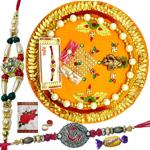 Outstanding Thali and Auspicious 2 Rakhis with Wonderful Choco Delight<br /><font color=#0000FF>Free Delivery in USA</font>