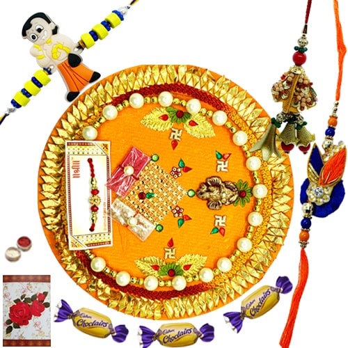 Scintillating Kids and Bhaiya Bhabhi Rakhi with Thali<br /><font color=#0000FF>Free Delivery in USA</font>