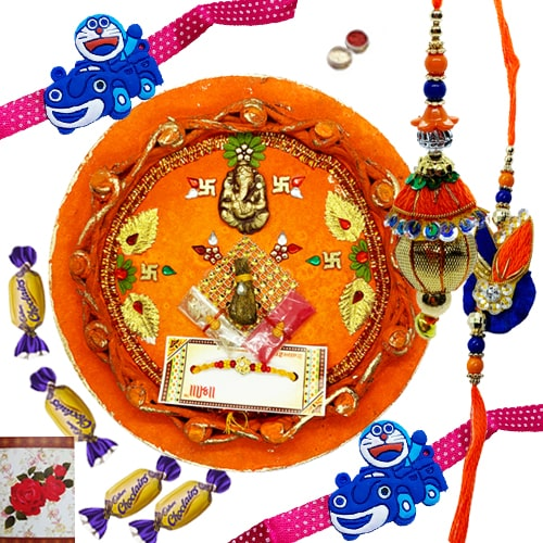 Smart-Looking Rakhi Gift Set for Bhaiya Bhabhi and Kids with 3 Choco Delight<br /><font color=#0000FF>Free Delivery in USA</font>