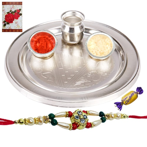 Splendid Rakhi with Silver Plated Thali and Chocolates<br /><font color=#0000FF>Free Delivery in USA</font>