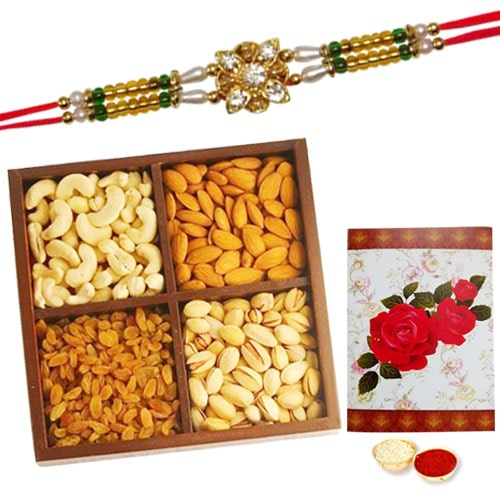 Elegant One or More Designer Ethnic Rakhi Provided with 250 Gms. Dry Fruits<br /><font color=#0000FF>Free Delivery in USA</font>
