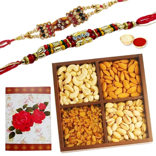 Delicious 250 Gms. Dry Fruits with 2 or More Designer Ethnic Rakhi<br /><font color=#0000FF>Free Delivery in USA</font>