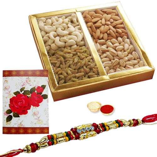 Fascinating One or More Ethnic Rakhi with Dry Fruits 500 Gms.<br /><font color=#0000FF>Free Delivery in USA</font>