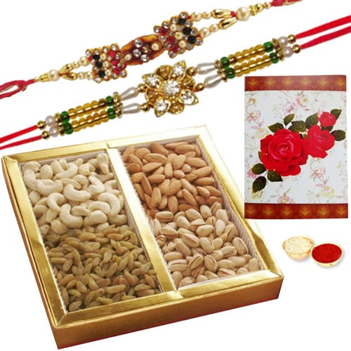 Delicious 2 or More Ethnic Rakhi with Dry Fruits 500 Gms.<br /><font color=#0000FF>Free Delivery in USA</font>