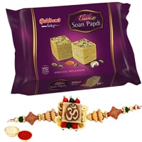 One or More Designer Ethnic Rakhi with 250 Gms. Haldirams Soan Papri<br /><font color=#0000FF>Free Delivery in USA</font>