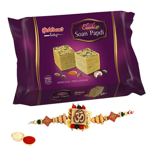 Elegant One or More Designer Ethnic Rakhi with 250 Gms. Haldirams Soan Papri<br /><font color=#0000FF>Free Delivery in USA</font>