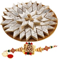 One or More Designer Ethnic Rakhi with 250 Gms. Kaju Katli<br /><font color=#0000FF>Free Delivery in USA</font>