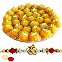 250 Gms. Boondi Ladoo and One Ethnic Rakhi Gift Combo<br /><font color=#0000FF>Free Delivery in USA</font>