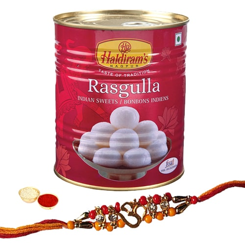 Traditional Rakhi with 1 Kg. Pack of Haldirams Rasgulla<br /><font color=#0000FF>Free Delivery in USA</font>