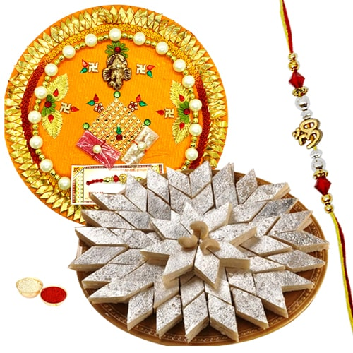 Rakhi Thali with One or More Designer Ethnic Rakhi and Kaju Katli<br /><font color=#0000FF>Free Delivery in USA</font>