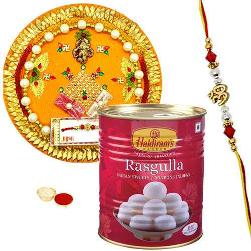 Breathtaking Rakhi Thali and Rakhi with Sweets<br /><font color=#0000FF>Free Delivery in USA</font>