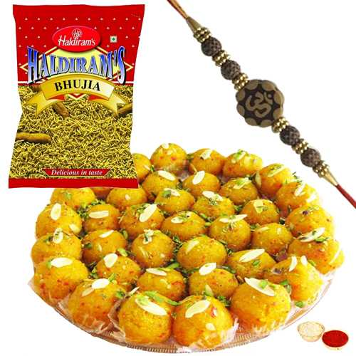 Splendid Rakhi with 250 gms. Boondi Ladoo and 200 Gms. Haldirams Bhujia<br /><font color=#0000FF>Free Delivery in USA</font>